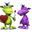 Toon monster giving rose to girl monster. — Stock Photo #8798707