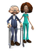 Cartoon nurse helping older man with walker. — Stock Photo
