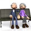 Royalty-Free Stock Photo: Elderly cartoon couple on bench.