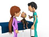 卡通婴儿正在接受医生的检查. — 图库照片
