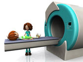 Cartoon boy getting an MRI scan. — Stock Photo