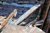 Dettaglio di un vecchio relitto di barca di pesca — Foto Stock