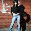 Fashion portrait of young woman with a brick wall — Stock Photo #8203184