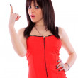 Beautiful brunette in red dress — Stock Photo