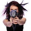 Woman with fashion hairstyle holding hairdryer — Stock Photo #8203285