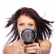 Woman with fashion hairstyle holding hairdryer — Stock Photo #8203457