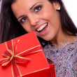Winter portrait of a beautiful young smiling woman — Stock Photo #8208440
