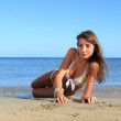 Young model on the beach — Stock Photo #8218468