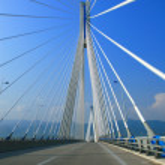 Suspension bridge crossing Corinth Gulf strait, Greece. — Stock Photo #8219748
