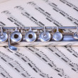 Silver flute on flute sheet music - Stock Photo