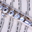 Stock Photo: Silver flute on flute sheet music