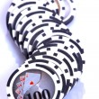 Casino chips on white — Stock Photo
