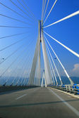Suspension bridge crossing Corinth Gulf strait, Greece. — Stock Photo