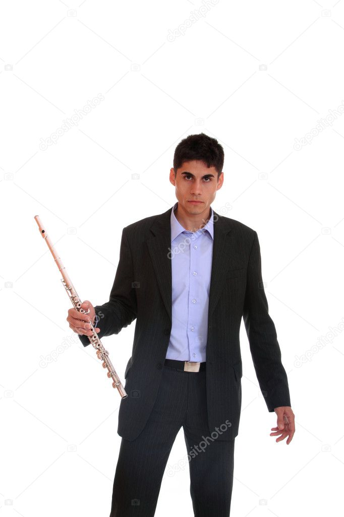 Close up of a man playing his flute.  Stock Photo #8217111