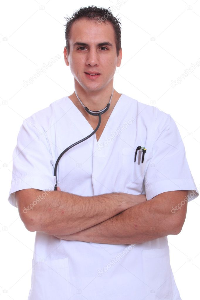 Closeup portrait of a doctor isolated on white background — Stock Photo #8219341