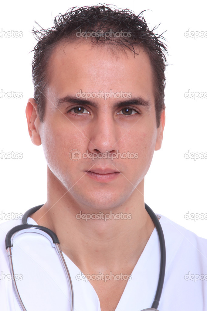 Closeup portrait of a doctor isolated on white background — Stock Photo #8219342