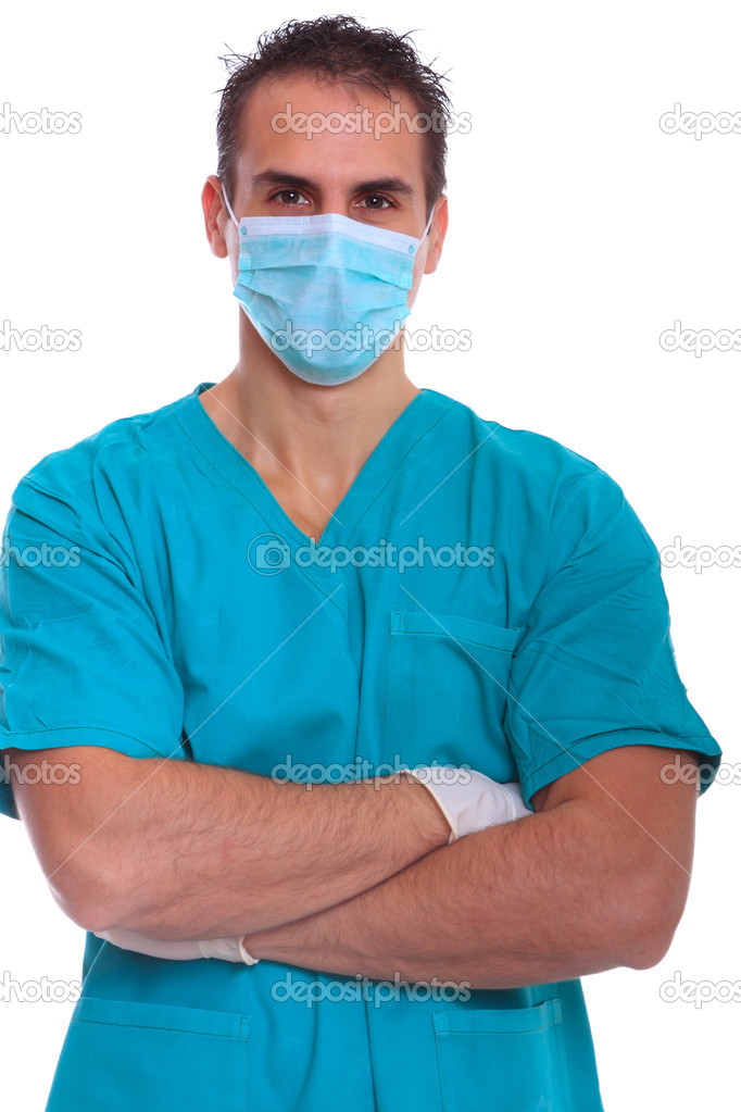 Closeup portrait of a doctor isolated on white background  Stock Photo #8219352