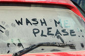 Window of dirty car — Stock Photo