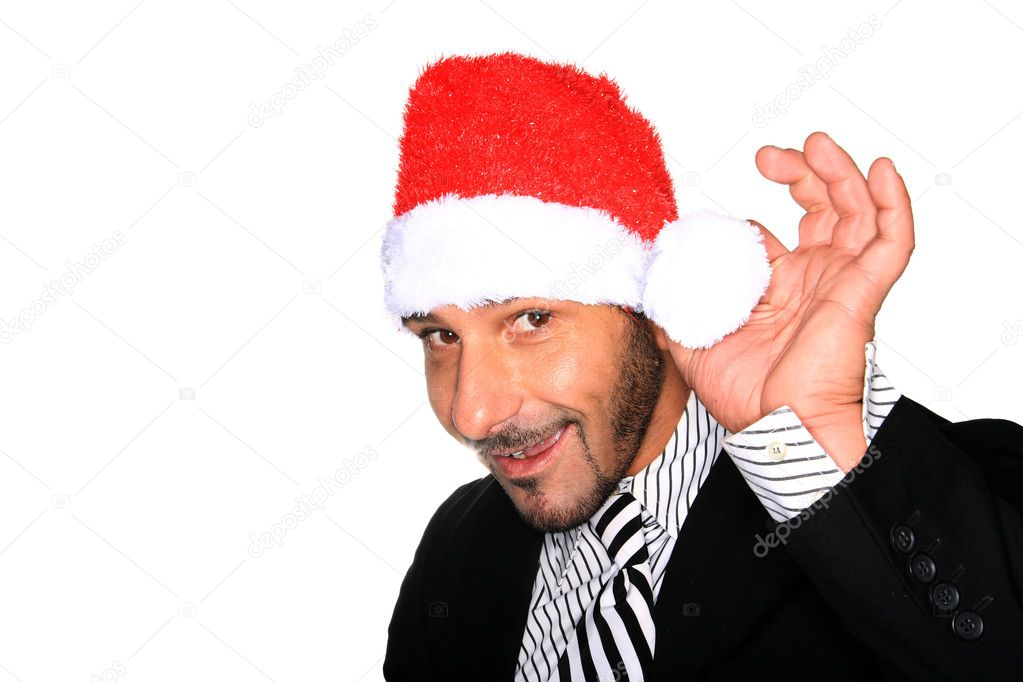Man with a santa hat isolated on white — Stock Photo #8358760