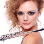 フルートを演奏女性の肖像画 — ストック写真 #8429049