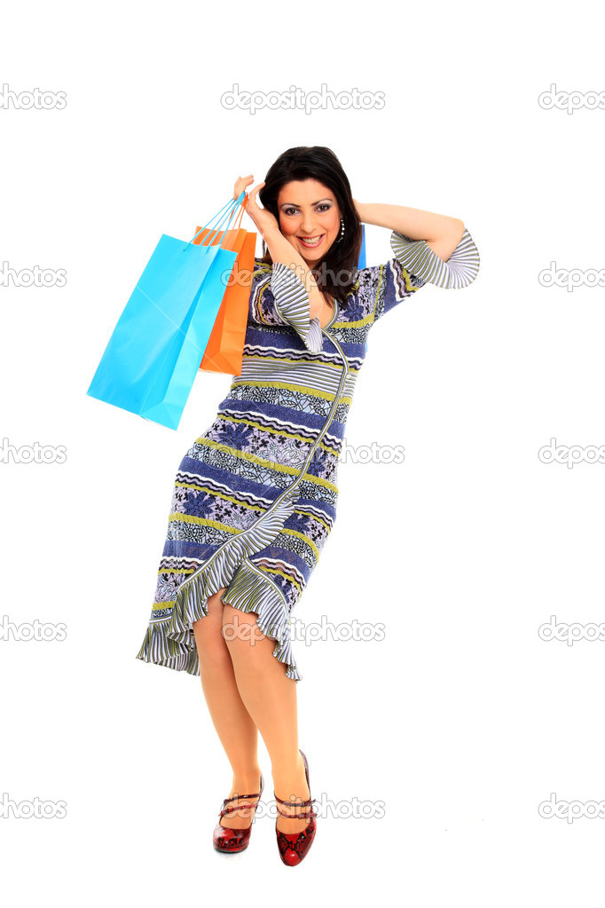 Picture of lovely woman with shopping bags Isolated  Stock Photo #8429954
