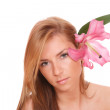 Portrait of Fresh and Beautiful woman with flower — Stock Photo