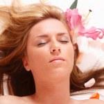 Beautiful long-haired girl relaxing — Stock Photo