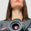 Woman With medium format Camera — Stock Photo