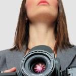 Woman With medium format Camera — Stock Photo