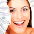 Young happy woman with dollar — Stock Photo