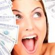 Молодая женщина счастлива с долларом — Стоковое фото