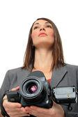 Vrouw met medium formaat camera — Stockfoto