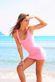Beautiful young latino woman portrait on beach — Stock Photo