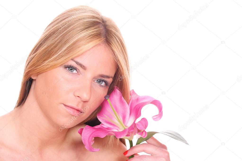 Studio portrait of sensual beautiful woman with flower on white background — Stock Photo #8430270