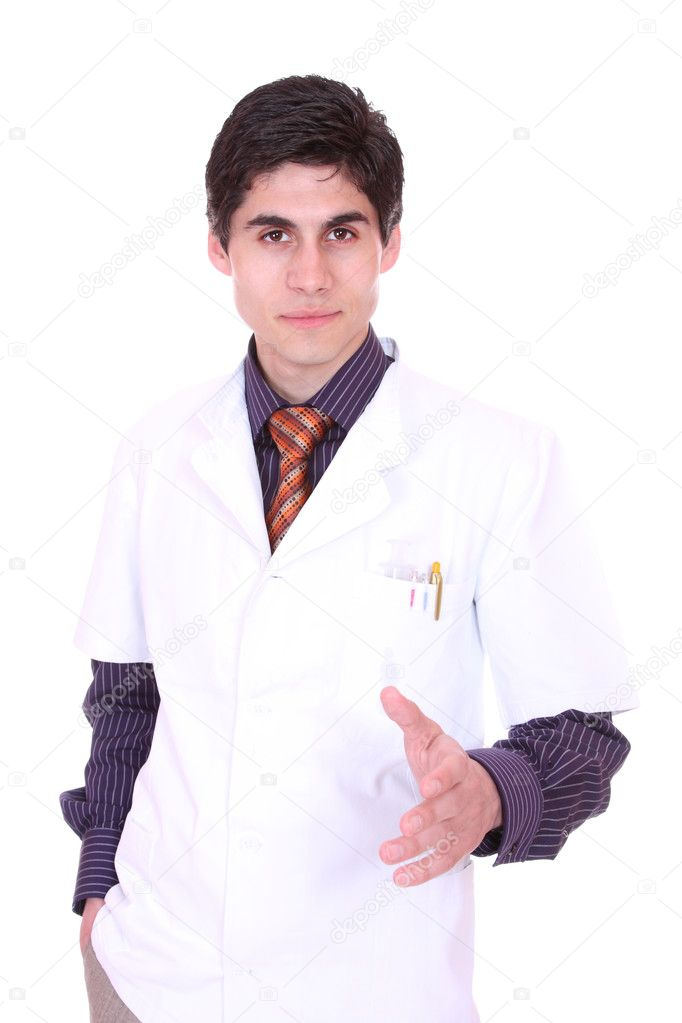 Closeup portrait of a doctor isolated on white background — Stock Photo #8443389