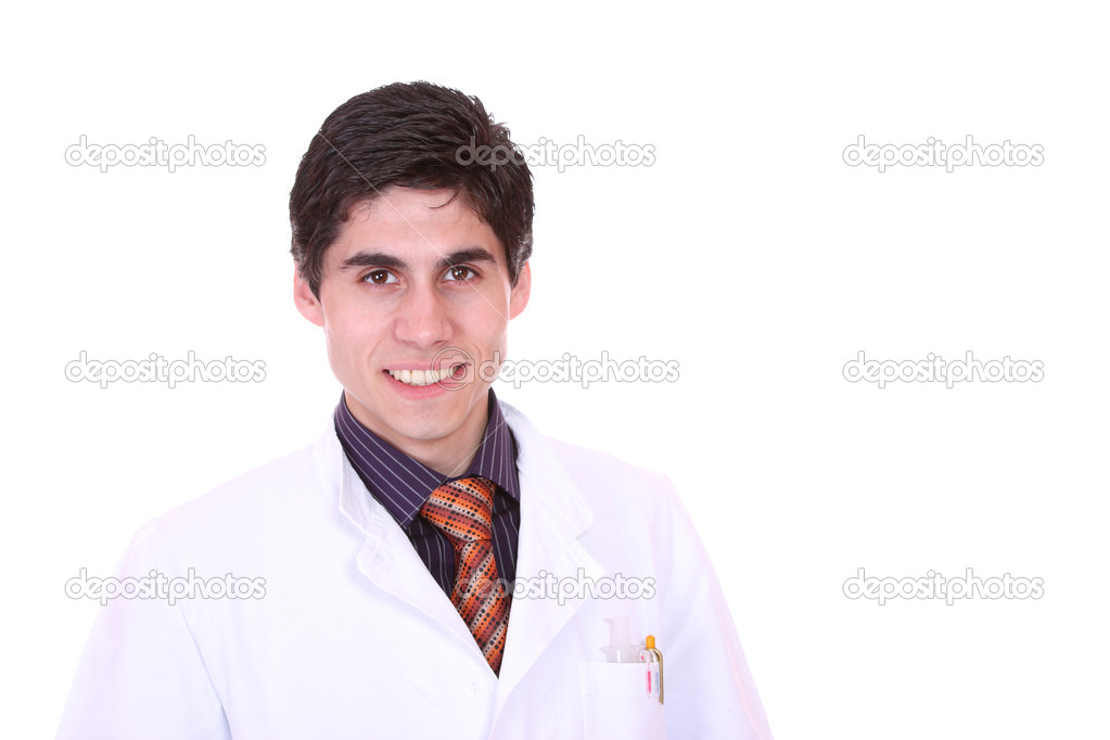 Closeup portrait of a doctor isolated on white background  Stock Photo #8443391