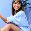 Beautiful and natural young girl on the bed — Stock Photo #8459080