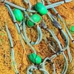 Pile yellow fishing net — Stock Photo