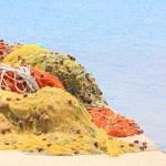 Pile yellow and orange fishing net — Stock Photo