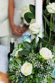 Bouquet at church ceremony — Stock Photo