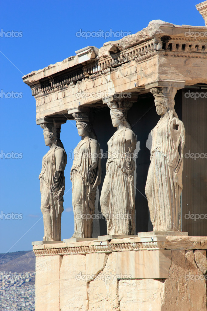 Caryatids, erechtheion temple Acropolis — Stock Photo ...
