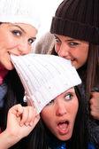 Three happy friends having fun — Stock Photo