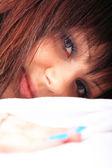 Closeup portrait of young beautiful teen — Stock Photo