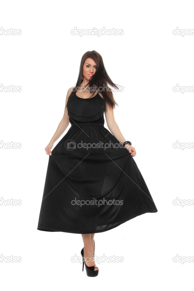 Pretty sexy girl full length posing in a nice black dress isolated over white background — Stock Photo #9037614
