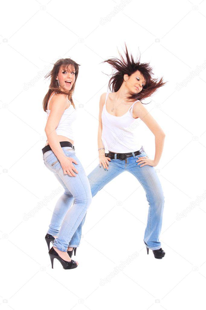 两个女孩跳舞的快手