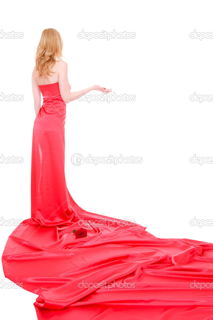 Beautiful young woman in red long dress — Stock Photo #9040878