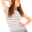 Young woman in jeans shorts — Stock Photo