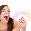 Happy woman with group of euro bills Isolated. — Stock Photo