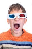Child shouting 3d glasses — Stock Photo