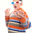 Child in 3d glasses has fear — Stock Photo